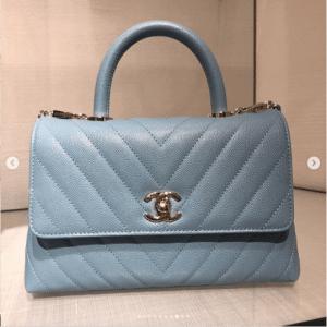 Chanel Light Blue Chevron Coco Handle Bag