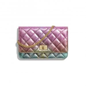 Chanel Multicolor Metallic Goatskin 2.55 Reissue Wallet on Chain