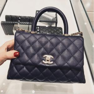 Chanel Navy Blue Coco Handle Bag