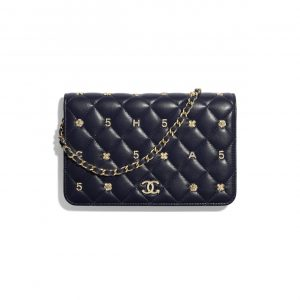 Chanel Navy Blue Lambskin with Charms Wallet on Chain