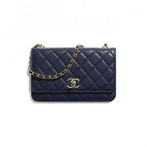 Chanel Navy Blue Trendy CC Wallet on Chain