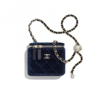 Chanel Navy Blue Velvet Pearl Crush Small Classic Box with Chain Bag
