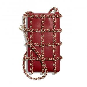 Chanel Red Lambskin Clutch with Chain