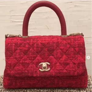 Chanel Red Tweed Coco Handle Mini Bag