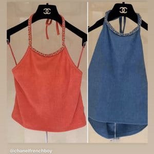 Chanel Red and Blue Coco Beach Halter Tops