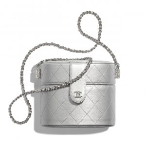 Chanel Silver Metallic Lambskin Clutch with Chain Bag