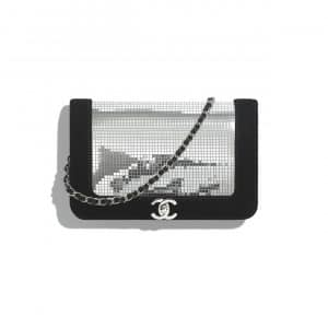 Chanel Silver/Black Velvet and Mixed Fibers Wallet on Chain