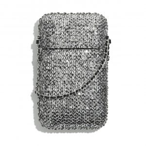 Chanel Silver/Black/Gold Tweed/Sequins Clutch with Chain Bag
