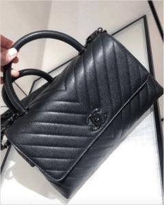 Chanel So Black Chevron Coco Handle Bag
