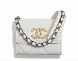 Chanel White Chanel 19 Crossbody Coin Purse - Cruise 2021