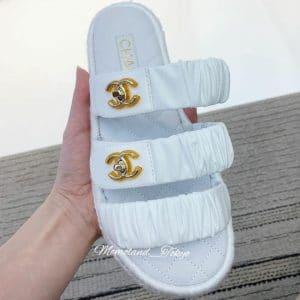 Chanel White Coco Beach Sandals