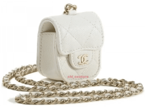 Chanel White Earpod Holder on Chain - Cruise 2021.PNG