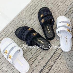 Chanel White and Black Coco Beach Sandals