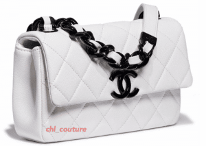 Chanel White with Black Hardware Flap Bag - Cruise 2021