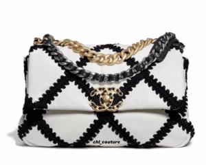 Chanel White/Black Crochet Calfskin Chanel 19 Small Bag - Cruise 2021