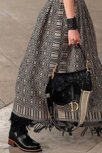 Dior Black Embossed Saddle Bag - Cruise 2021