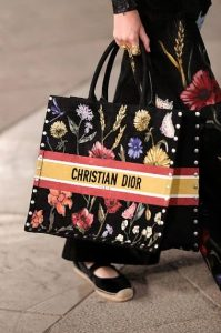 Dior Black Floral Embroidered Book Tote Bag - Cruise 2021