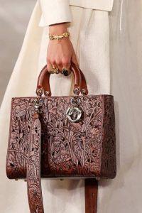 Dior Brown Laser Cut Lady Dior Bag - Cruise 2021
