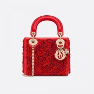 Dior Red Embroidered Dioramour Mini Lady Dior Bag