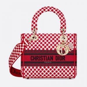 Dior Red Polkadot Dioramour Lady D-Lite Bag