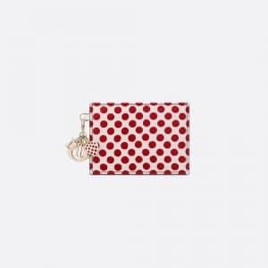 Dior Red Polkadot Dioramour Lady Dior Card Holder