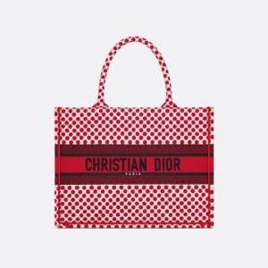 Dior Red Polkadot Dioramour Small Book Tote Bag