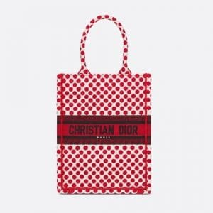 Dior Red Polkadot Dioramour Vertical Book Tote Bag