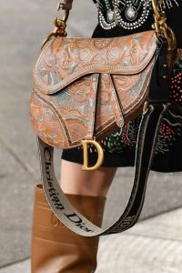 Dior Tan Embossed Saddle Bag - Cruise 2021