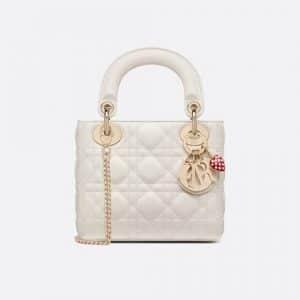 Dior White Dioramour Mini Lady Dior Bag