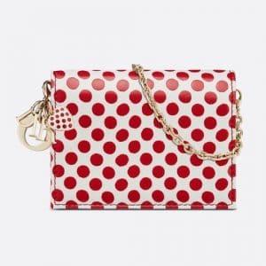 Dior White/Red Polkadot Lady Dior Chain Card Holder