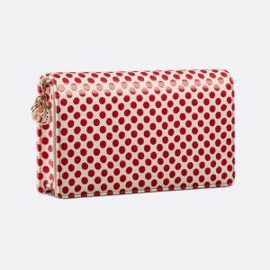 Dior White/Red Polkadot Lady Dior Clutch Bag