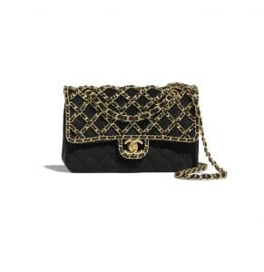 Chanel Black Velvet with Gold Tone Metal Classic Flap Bag