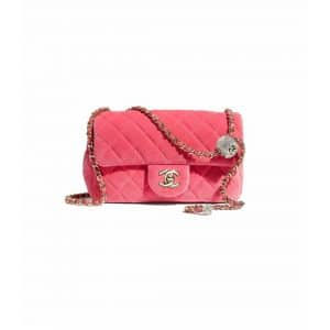 Chanel Coral Velvet Pearl Crush Bag