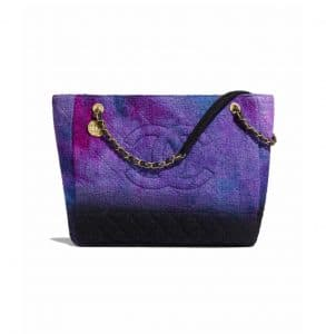 Chanel Purple/Black/Blue Wool Tweed Large Shopping Bag