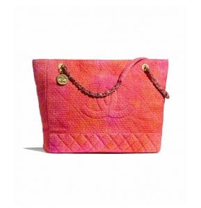Chanel Coral/Pink/Orange Wool Tweed Large Shopping Bag
