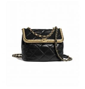 Chanel Black Lambskin Kiss-Lock Bag