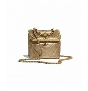 Chanel Gold Metallic Lambskin Small Kiss-Lock Bag