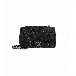 Chanel Black Satin and Strass Mini Flap Bag