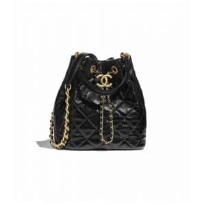 Chanel Black Shiny Lambskin Drawstring Bag
