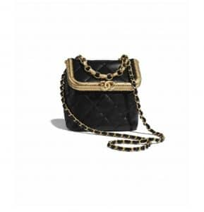 Chanel Black Lambskin Small Kiss-Lock Bag