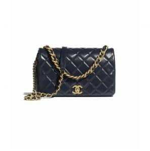 Chanel Navy Blue Shiny Lambskin Flap Bag