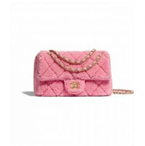 Chanel Pink Shearling Sheepskin Flap Bag
