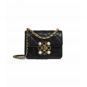 Chanel Black Lambskin with Onyx and Pearls Mini Flap Bag