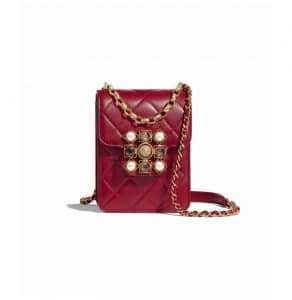 Chanel Red Lambskin with Pearls, Amethyst and Quartz Mini Flap Bag