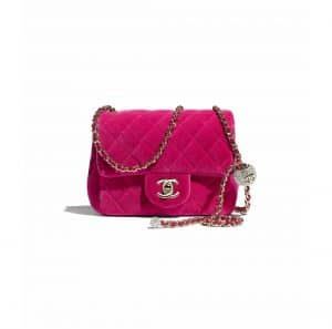 Chanel Fuchsia Velvet Pearl Crush Mini Flap Bag