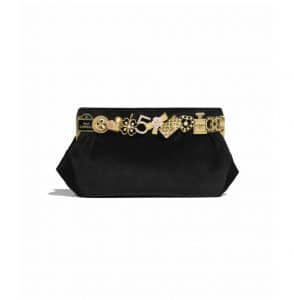 Chanel Black Velvet/Brass and Charms Clutch Bag