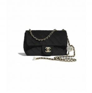 Chanel Black Velvet Pearl Crush Bag