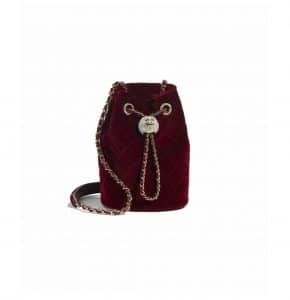 Chanel Burgundy Velvet Mini Drawstring Bag