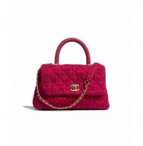 Chanel Fuchsia/Red Cotton Tweed Small Coco Handle Bag