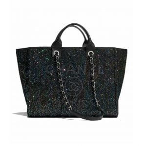 Chanel Black Viscose/Calfskin and Sequins Deauville Bag